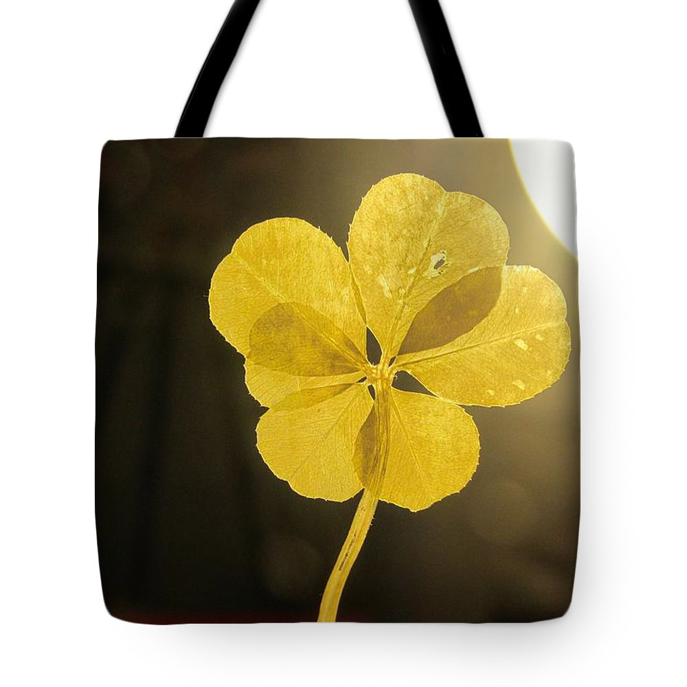 Six Leaf Clover Tote Bag featuring the mixed media Six Leaf Clover In Studio 2 by Julia Jacquez