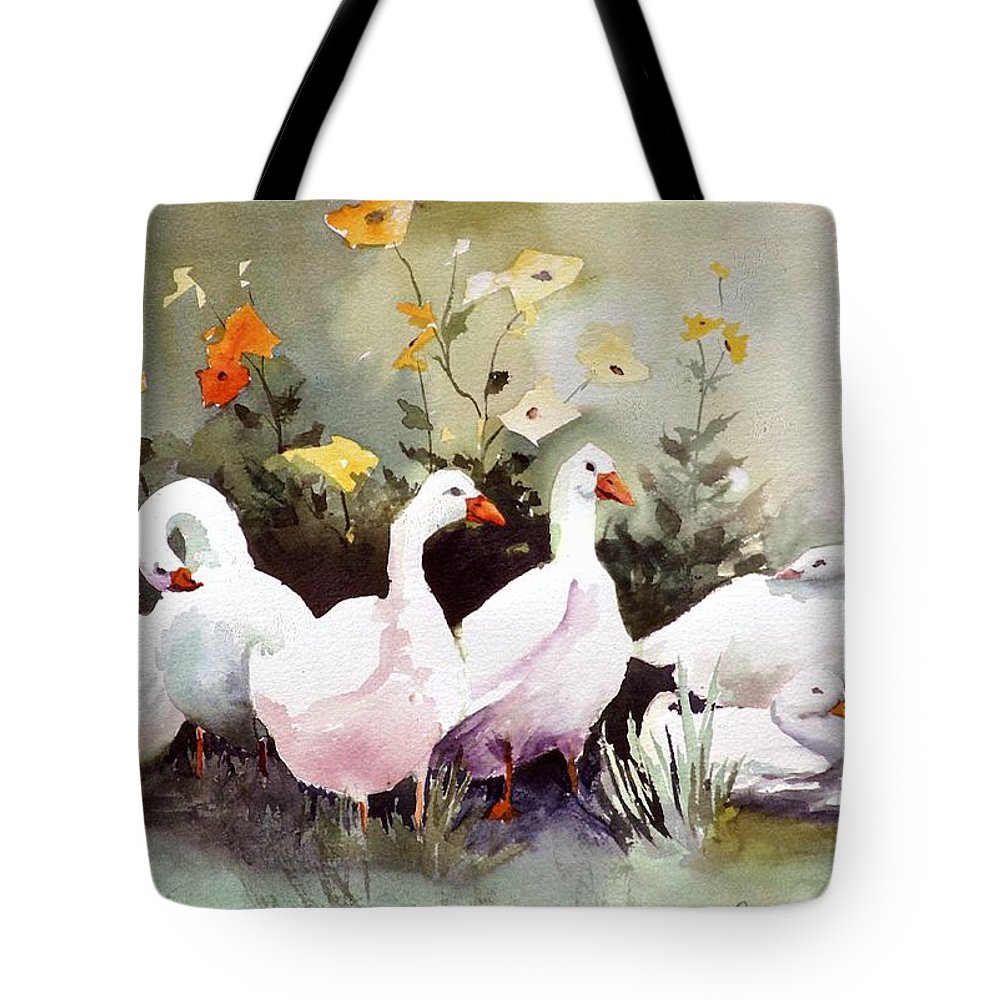 Animal Tote Bag featuring the painting Six Quackers by Connie Williams
