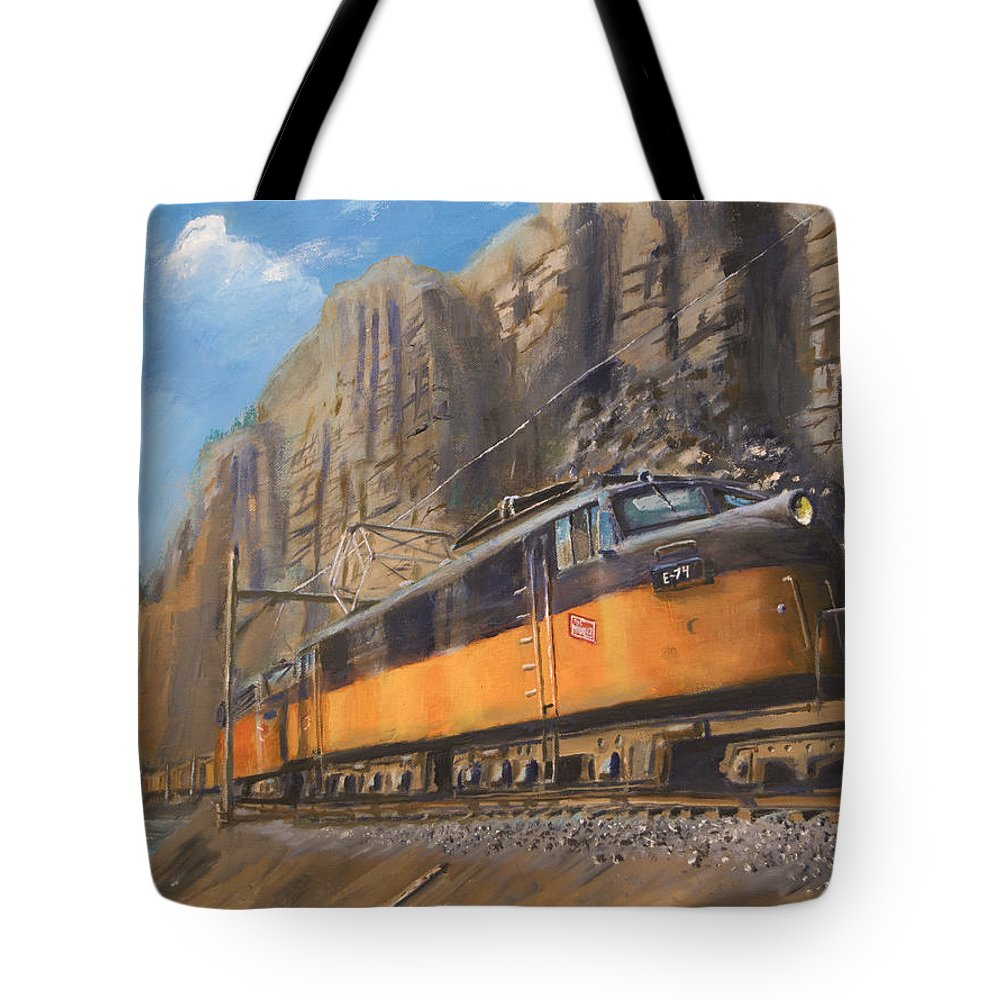 Railroad Tote Bag featuring the painting Sixteen Mile Canyon by Christopher Jenkins