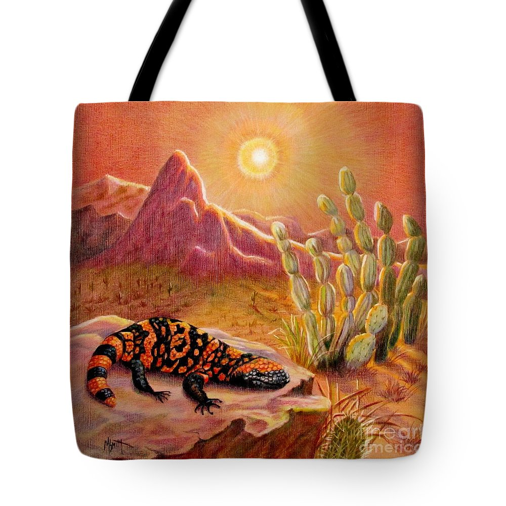 Desert Landscape Tote Bag featuring the drawing Sizzling Heat by Marilyn Smith
