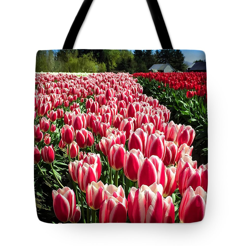 Tulip Tote Bag featuring the digital art Skagit County Tulip Festival by Mia DeBolt