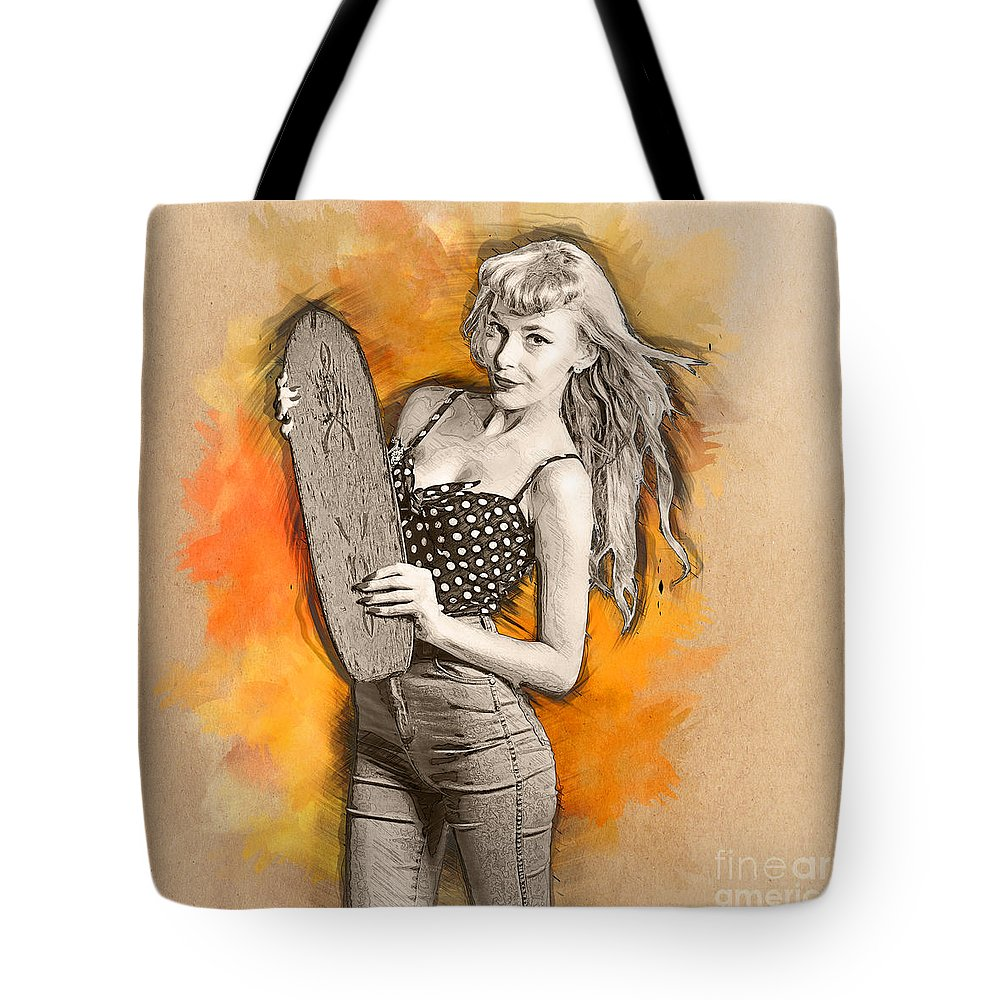 Skateboard Tote Bag featuring the digital art Skateboard Pin-up Illustration by Jorgo Photography - Wall Art Gallery