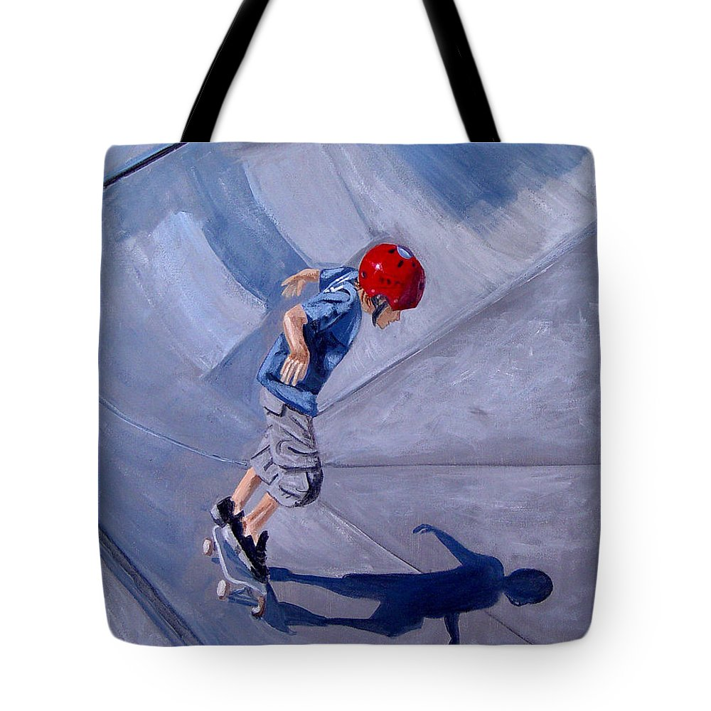 Boy Tote Bag featuring the painting Skateboarding by Quwatha Valentine
