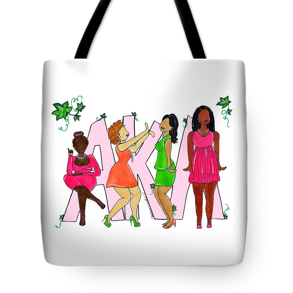 alpha Kappa Alpha Tote Bag featuring the drawing Skee Wee My Soror by Diamin Nicole
