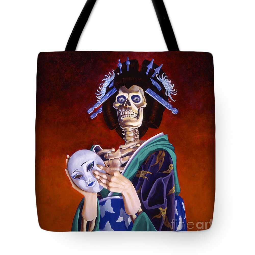 Skeleton Tote Bag featuring the painting Skeletal Geisha With Mask by Melissa A Benson