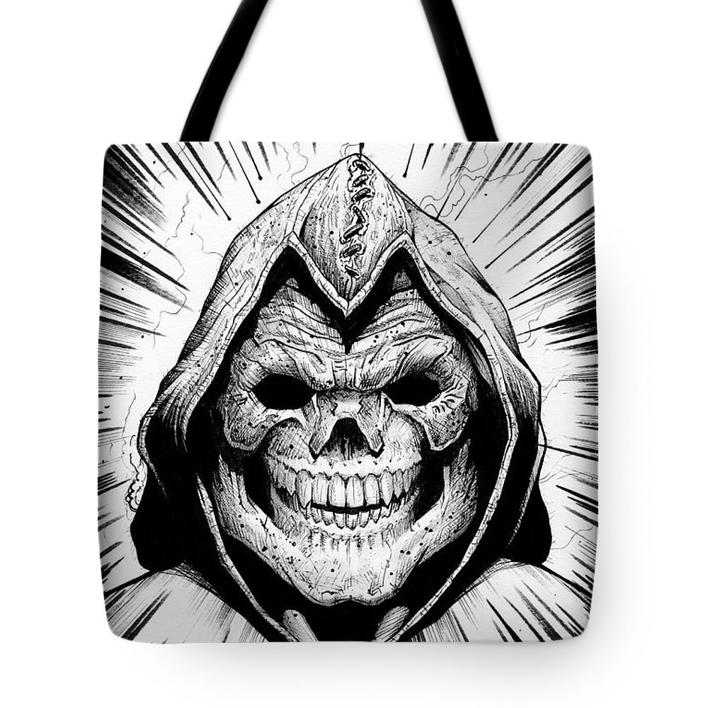 Skeletor Tote Bag featuring the drawing Skeletor by Evan Hardin