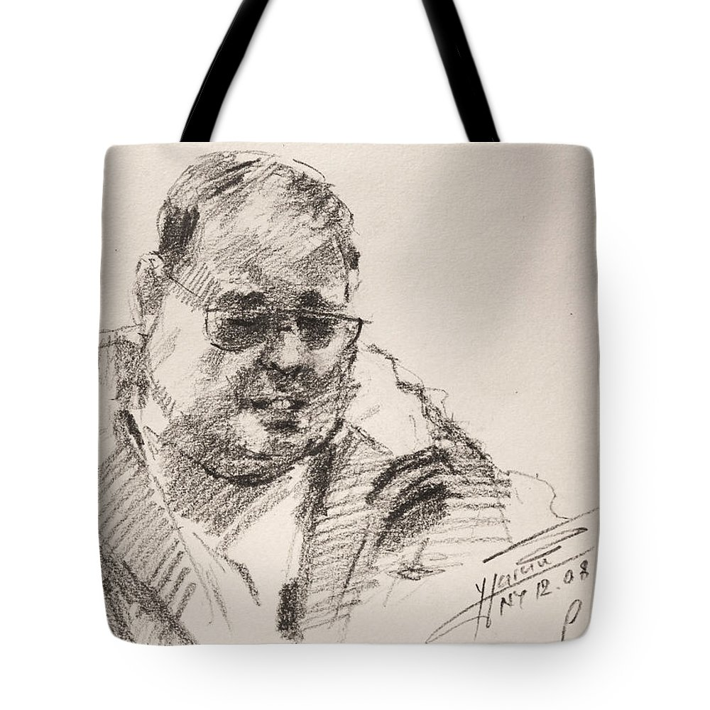 Man Tote Bag featuring the drawing Sketch Man 14 by Ylli Haruni