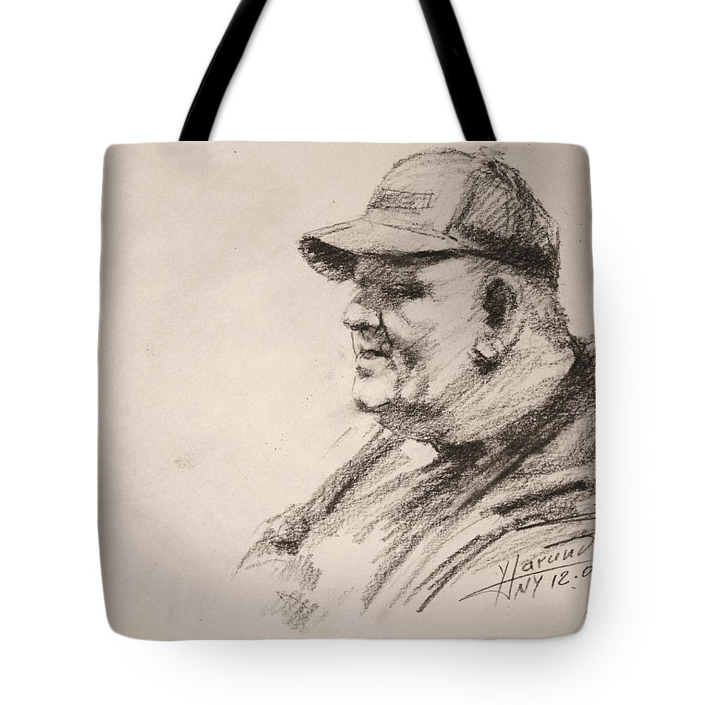 Man Tote Bag featuring the drawing Sketch Man 15 by Ylli Haruni