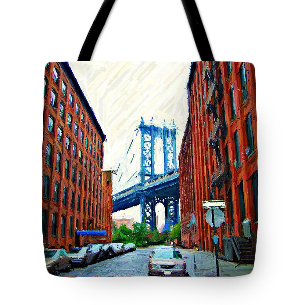 Brooklyn Tote Bag featuring the photograph Sketch Of Dumbo Neighborhood In Brooklyn by Randy Aveille