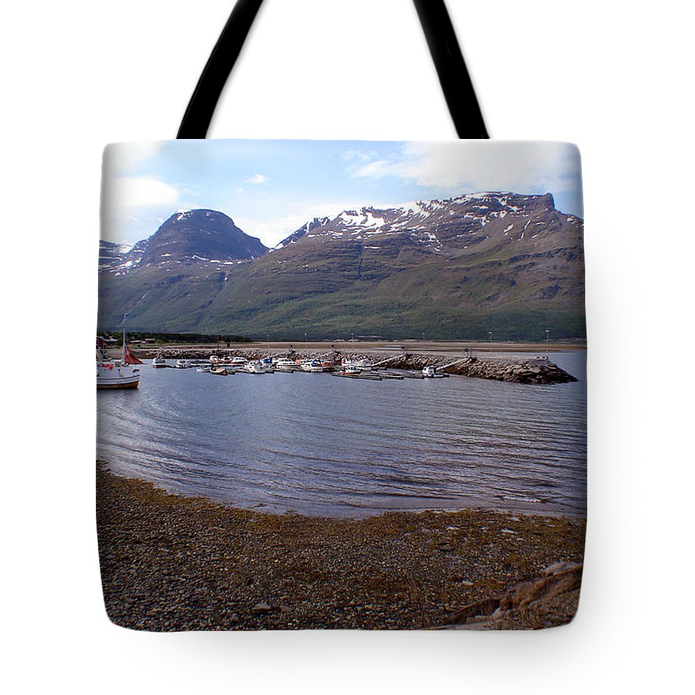 Skibotn Tote Bag featuring the photograph Skibotn Harbor Norway by Merja Waters