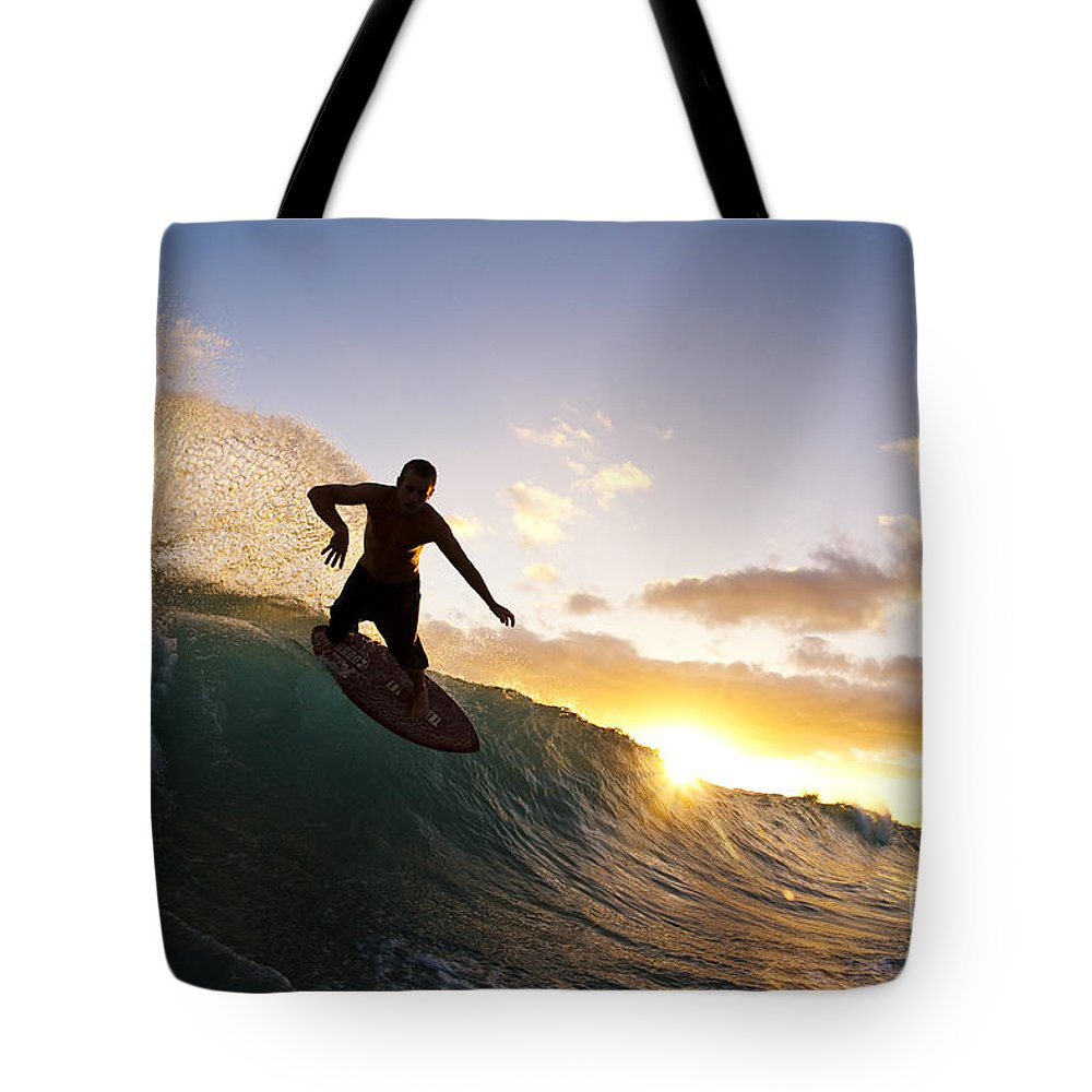 Action Tote Bag featuring the photograph Skimboarding At Sunset I by MakenaStockMedia - Printscapes