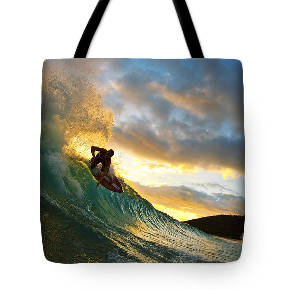 Action Tote Bag featuring the photograph Skimboarding At Sunset II by MakenaStockMedia - Printscapes