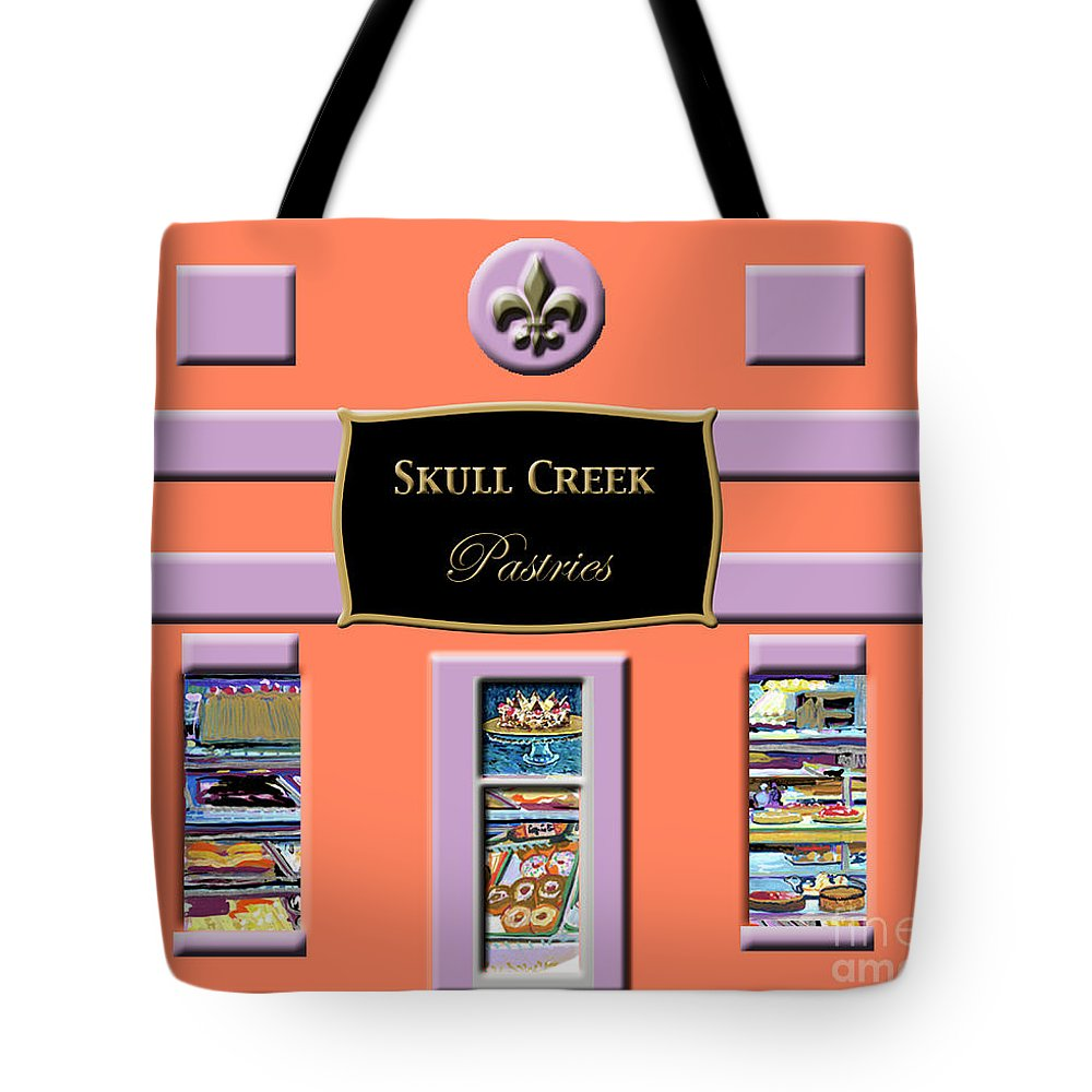 Pastry Shop Tote Bag featuring the painting Skull Creek Pastries by Candace Lovely