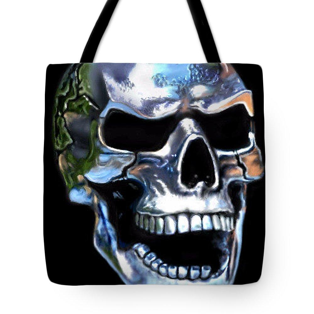 Skull Tote Bag featuring the digital art Skull Shine by Ellen Dawson