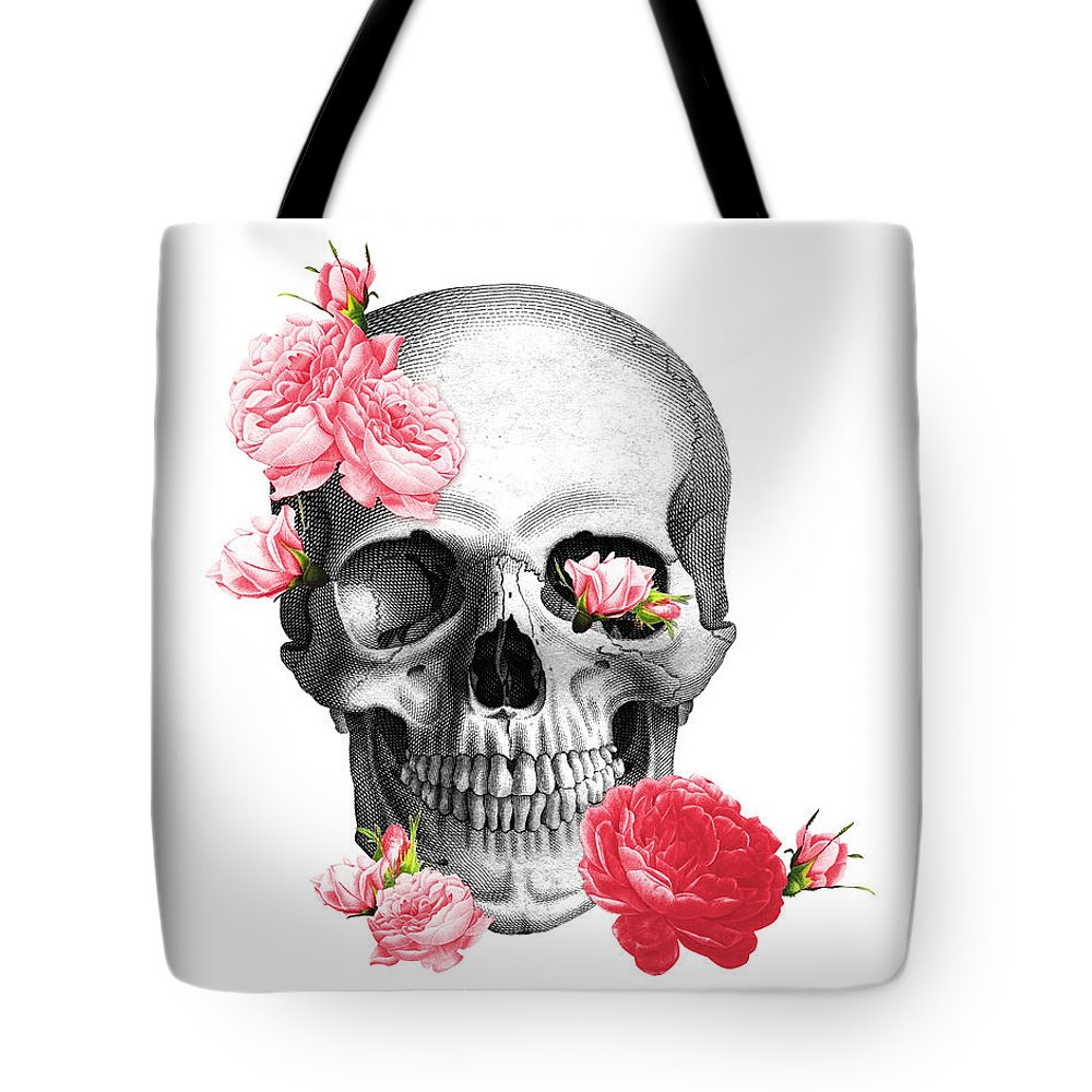 Skull Tote Bag featuring the digital art Skull With Pink Roses Framed Art Print by Madame Memento