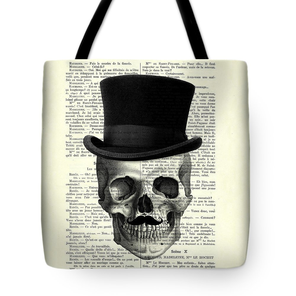 Lit Pour Jeune Homme skull with top hat and moustache tote bag