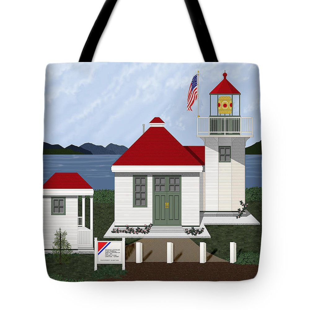 Skunk Bay Lighthouse Tote Bag featuring the painting Skunk Bay Lighthouse by Anne Norskog