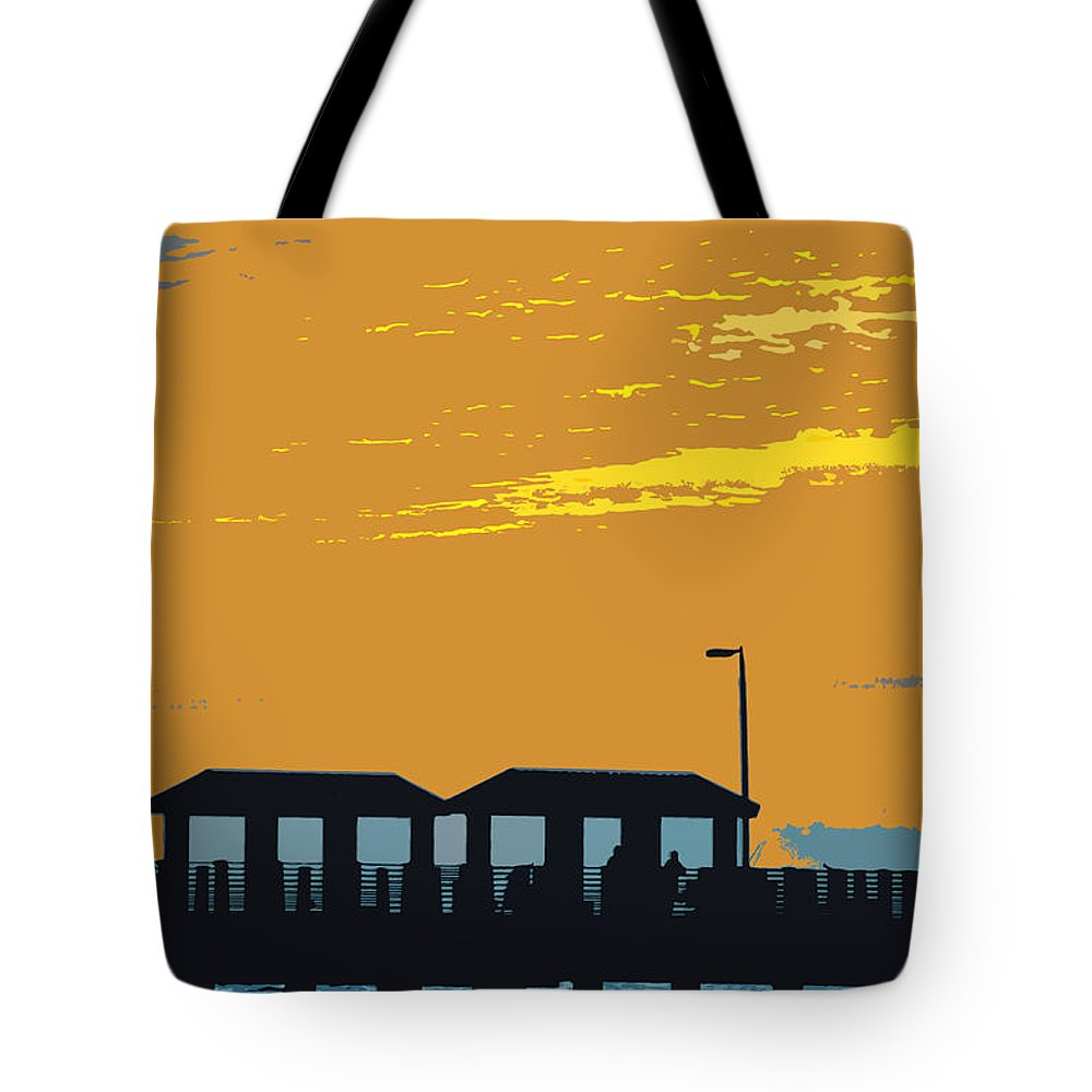 Fishing Pier Tote Bag featuring the painting Sky And Pier by David Lee Thompson
