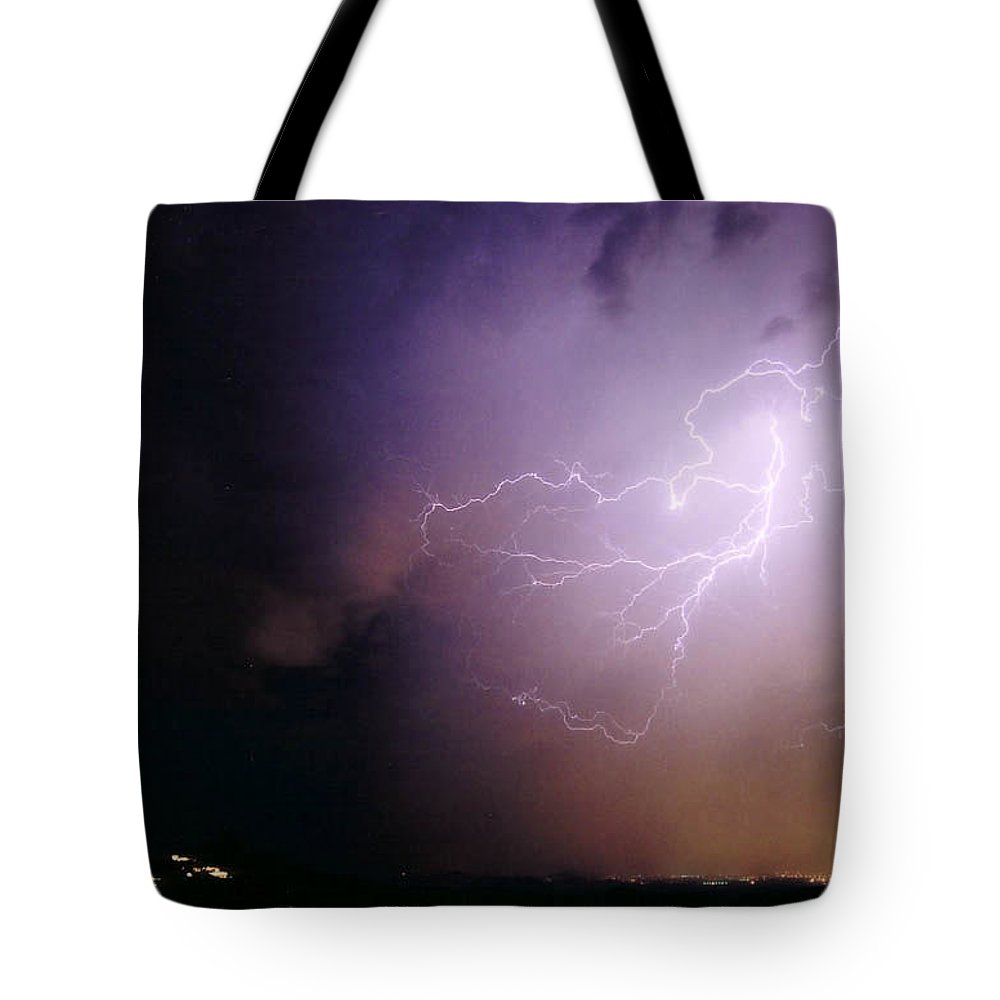 Lightning Tote Bag featuring the photograph Sky Angel by Cathy Franklin