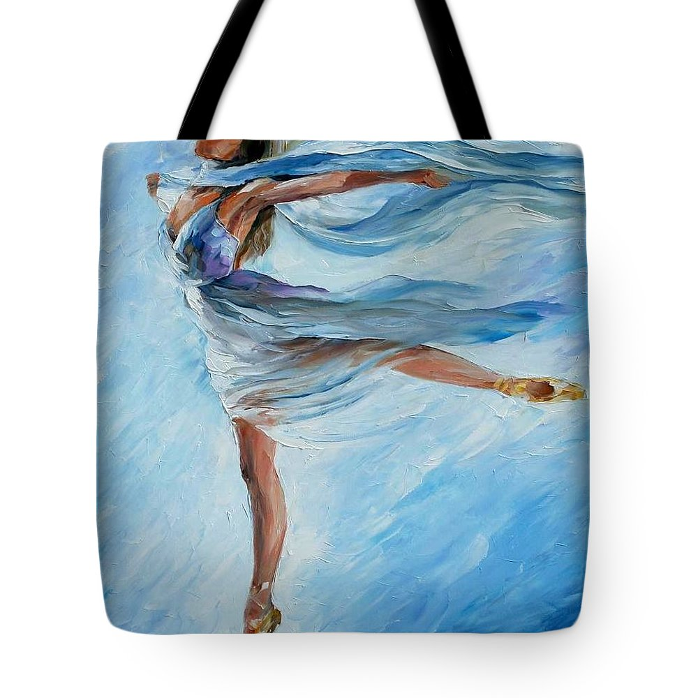 Ballet Tote Bag featuring the painting Sky Dance by Leonid Afremov