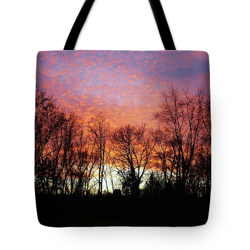 Sky Tote Bag featuring the photograph Sky Of Fire by Red Cross