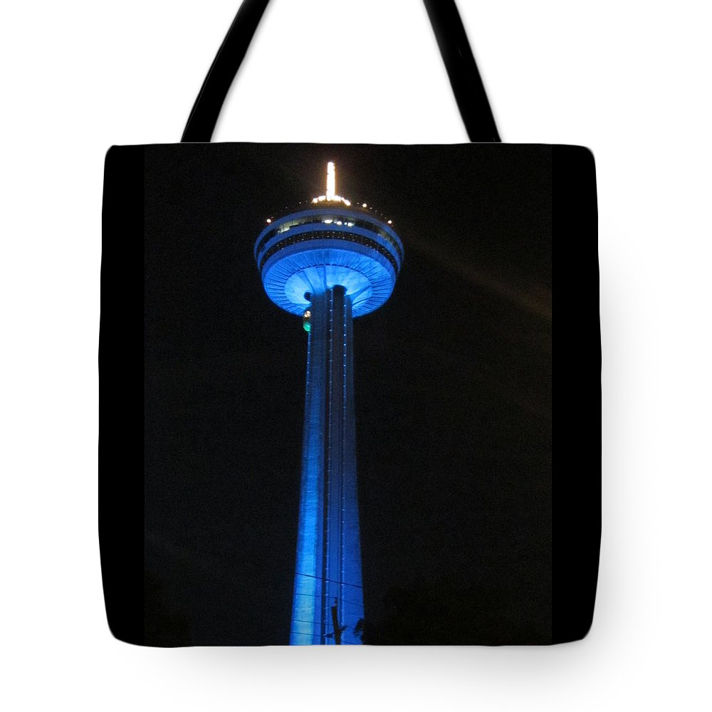 Blue Tote Bag featuring the photograph Sky Tower Blue by Abby Humphries
