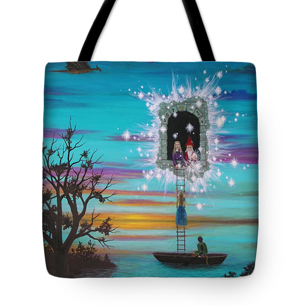 Fantasy Tote Bag featuring the painting Sky Window by Roz Eve