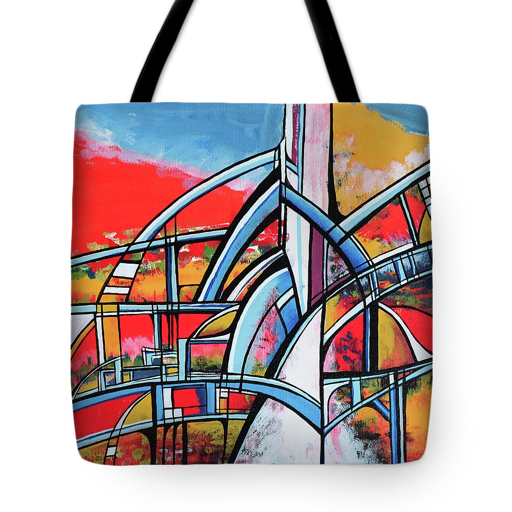Abstract Art Tote Bag featuring the painting Skybridge by Aniko Hencz