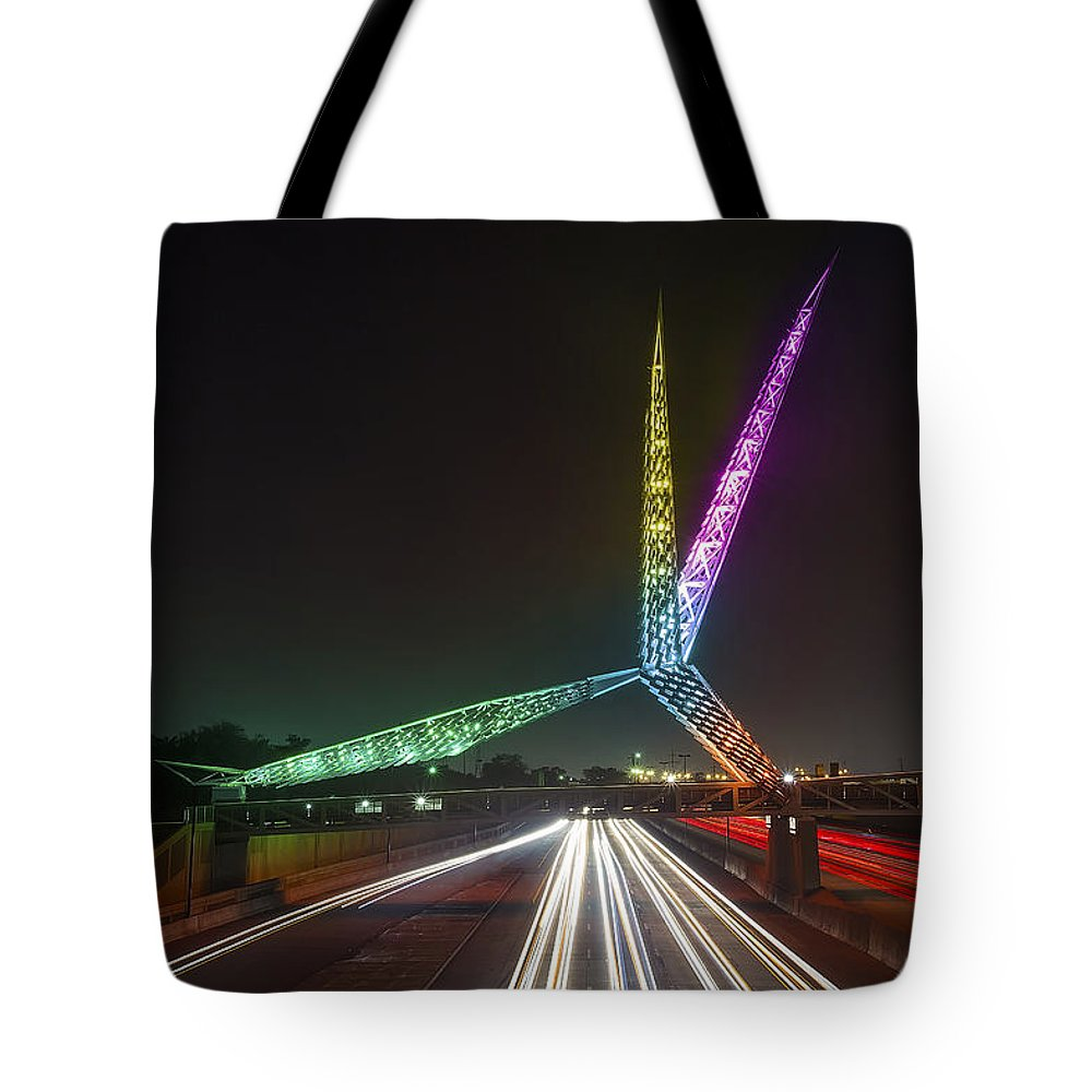 Scenic Tote Bag featuring the photograph Skydance Bridge Okc by James Menzies