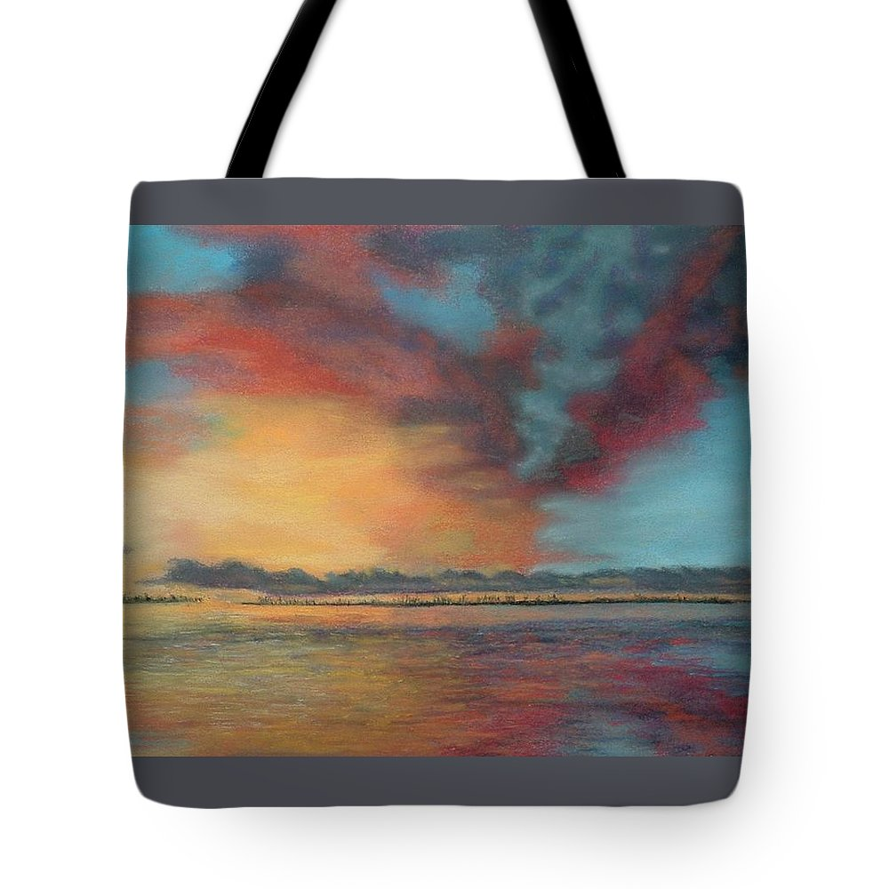 Pastel Tote Bag featuring the painting Sky's On Fire by Lynn ACourt