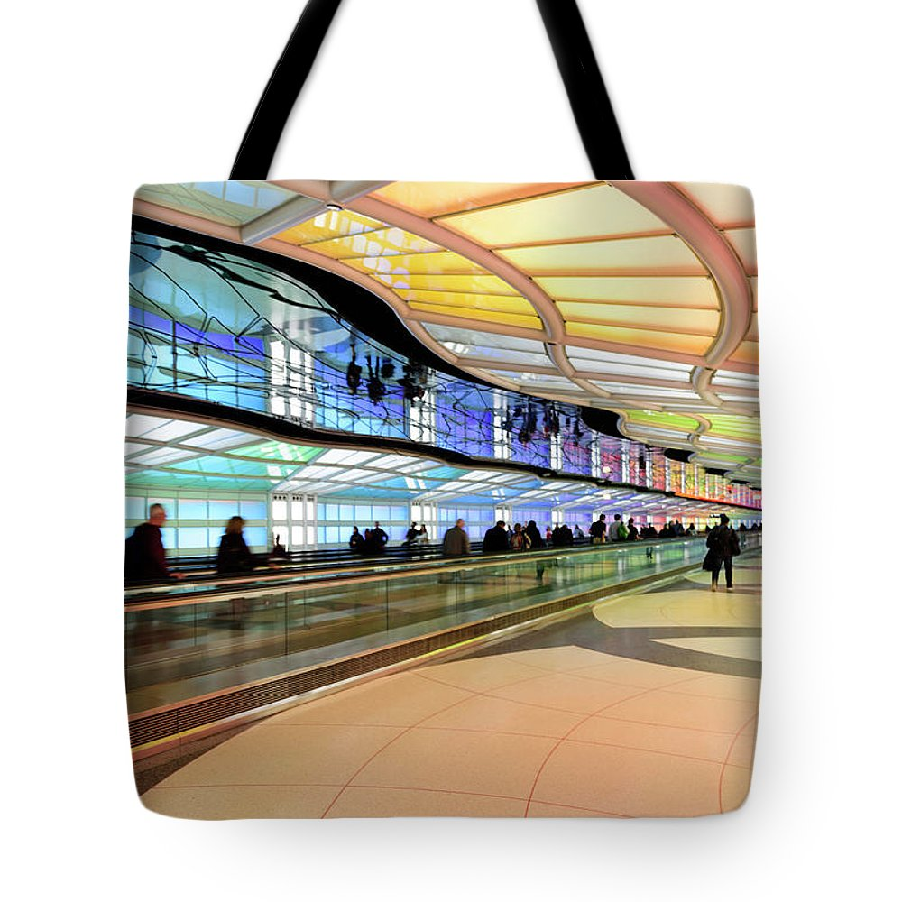 Tote Bag featuring the photograph Sky's The Limit-underground Walkway by Johanna Froese