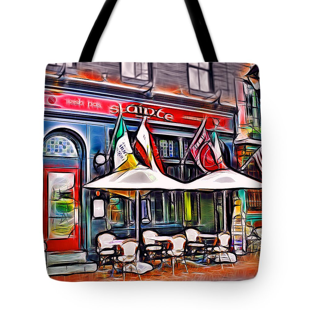 Slainte Tote Bag featuring the mixed media Slainte Irish Pub And Restaurant by Stephen Younts