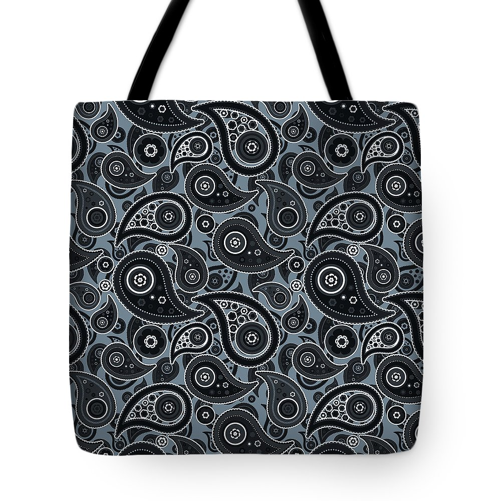 Slate Tote Bag featuring the digital art Slate Gray Paisley Design by Ross