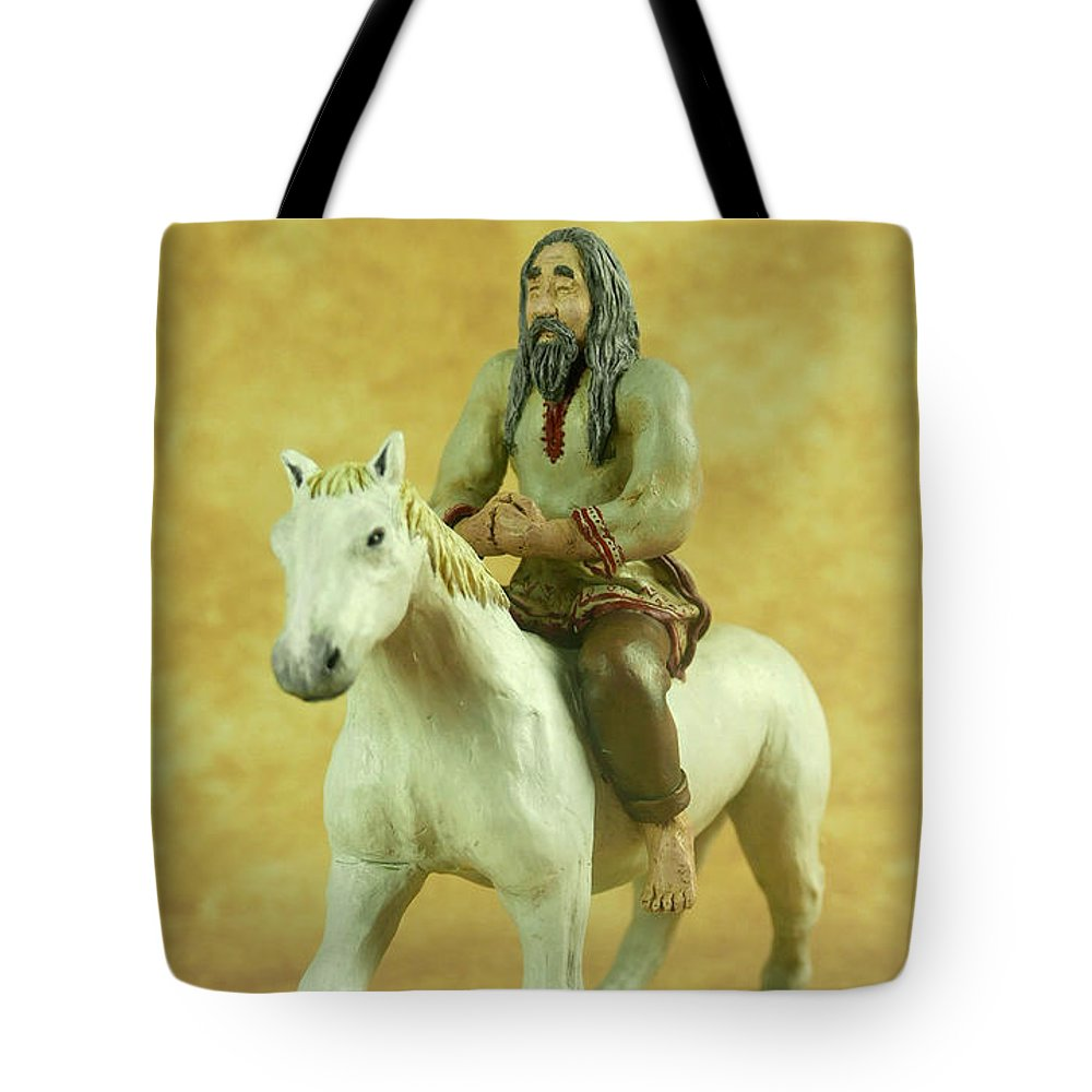 Slavic Horseman Tote Bag featuring the mixed media Slavic Horseman by Przemyslaw Stanuch