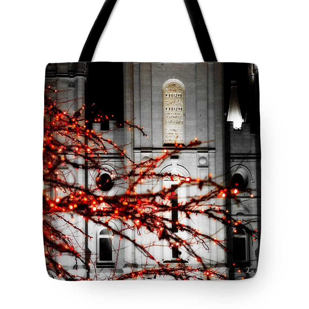 Salt Lake City Temple Photographs Tote Bag featuring the photograph Slc Temple Red White N Black by La Rae Roberts