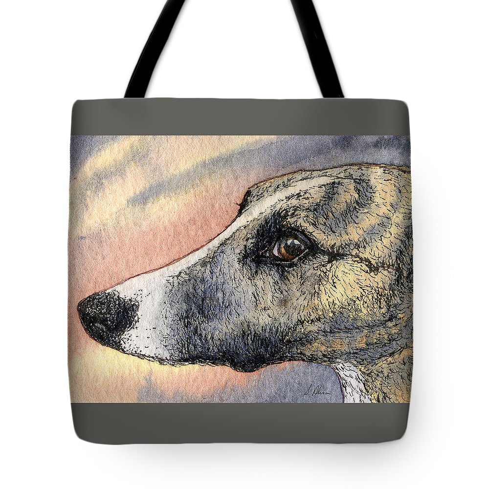 Whippet Tote Bag featuring the painting Sleek by Susan Alison