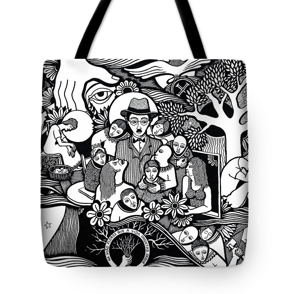 Drawing Tote Bag featuring the drawing Sleep Not To Have Desire Nor Hope by Jose Alberto Gomes Pereira