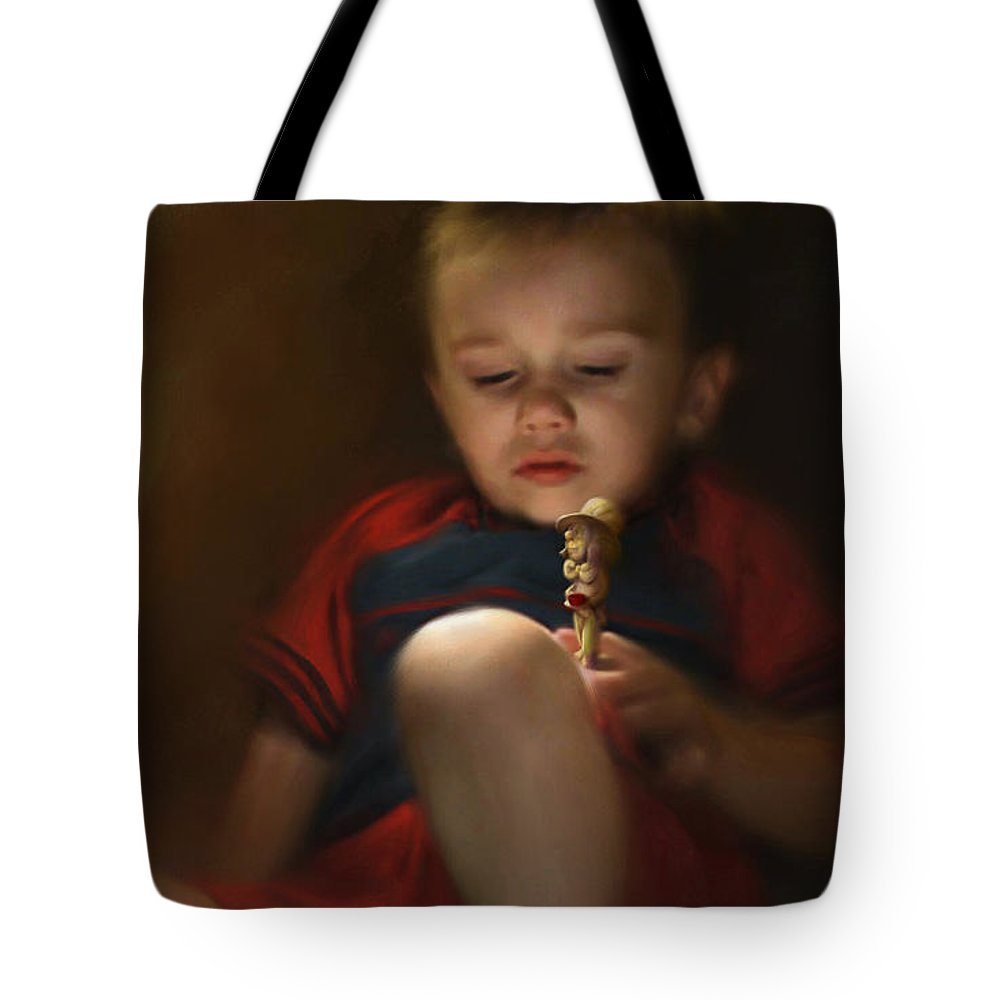 Boy. Figure Tote Bag featuring the digital art Sleep Off To Wonderland by Stephen Lucas