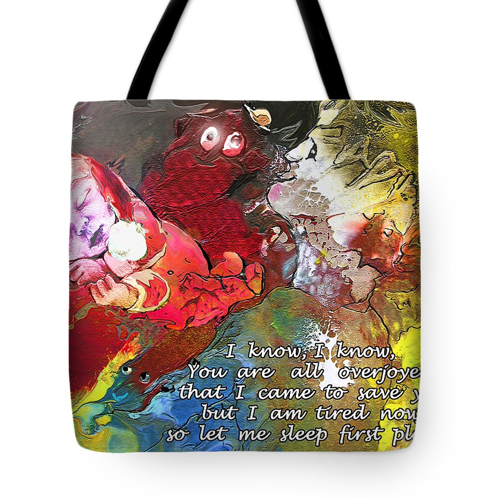 Messiah Painting Tote Bag featuring the painting Sleepig Messiah by Miki De Goodaboom