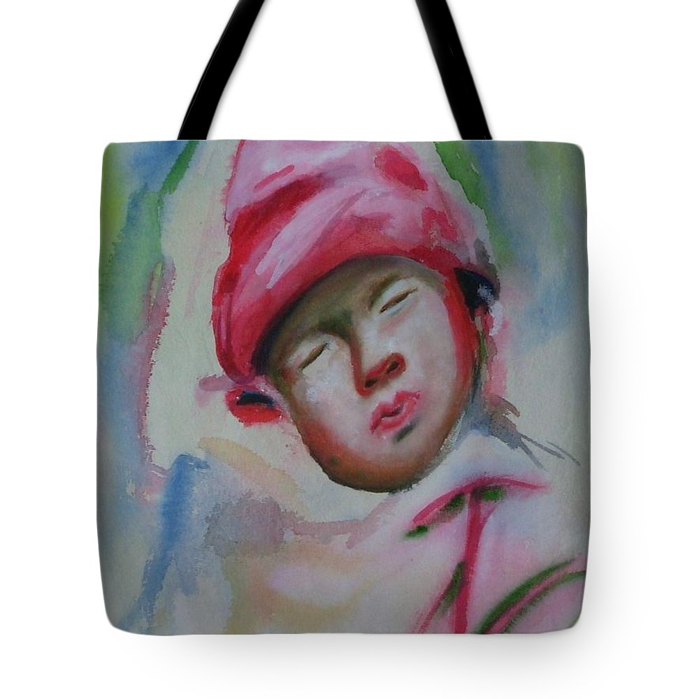 Watercolor Painting Tote Bag featuring the painting Sleeping Baby by Riya Rathore