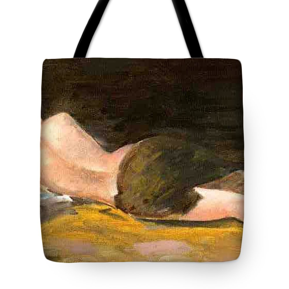 Woman Tote Bag featuring the painting Sleeping Beauty by Asha Sudhaker Shenoy