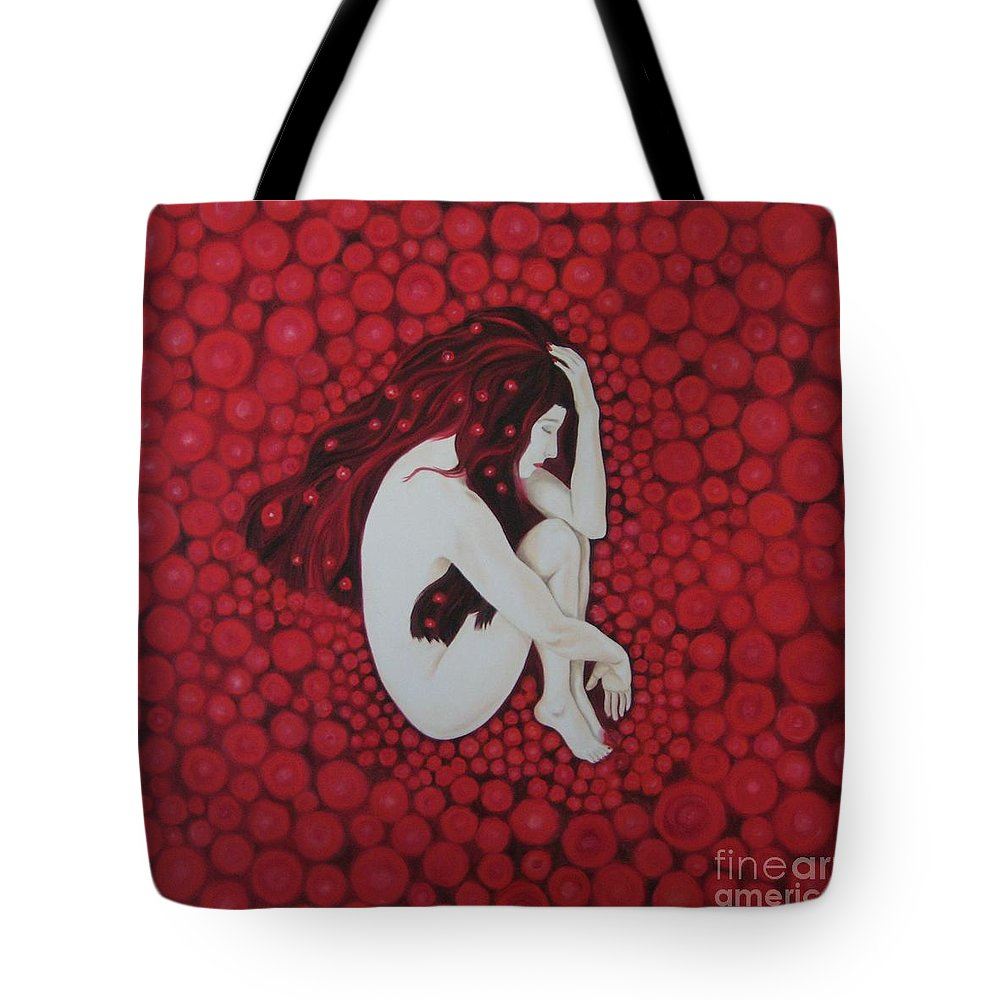Female Tote Bag featuring the painting Sleeping Beauty by Jindra Noewi