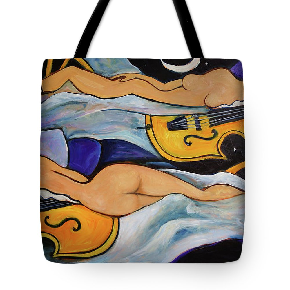 Musicians Tote Bag featuring the painting Sleeping Cellists by Valerie Vescovi