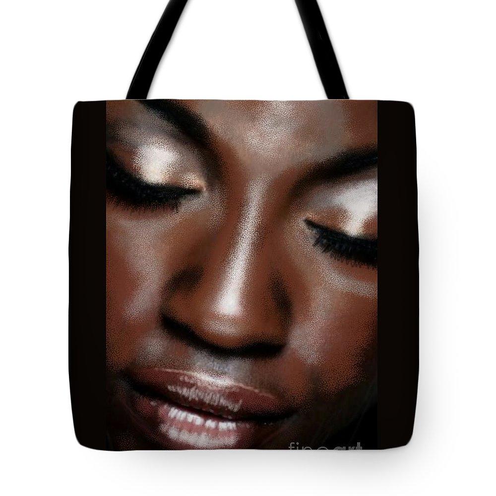 Uzart Tote Bag featuring the digital art Sleeping Face #0067 by Urszula Zogman
