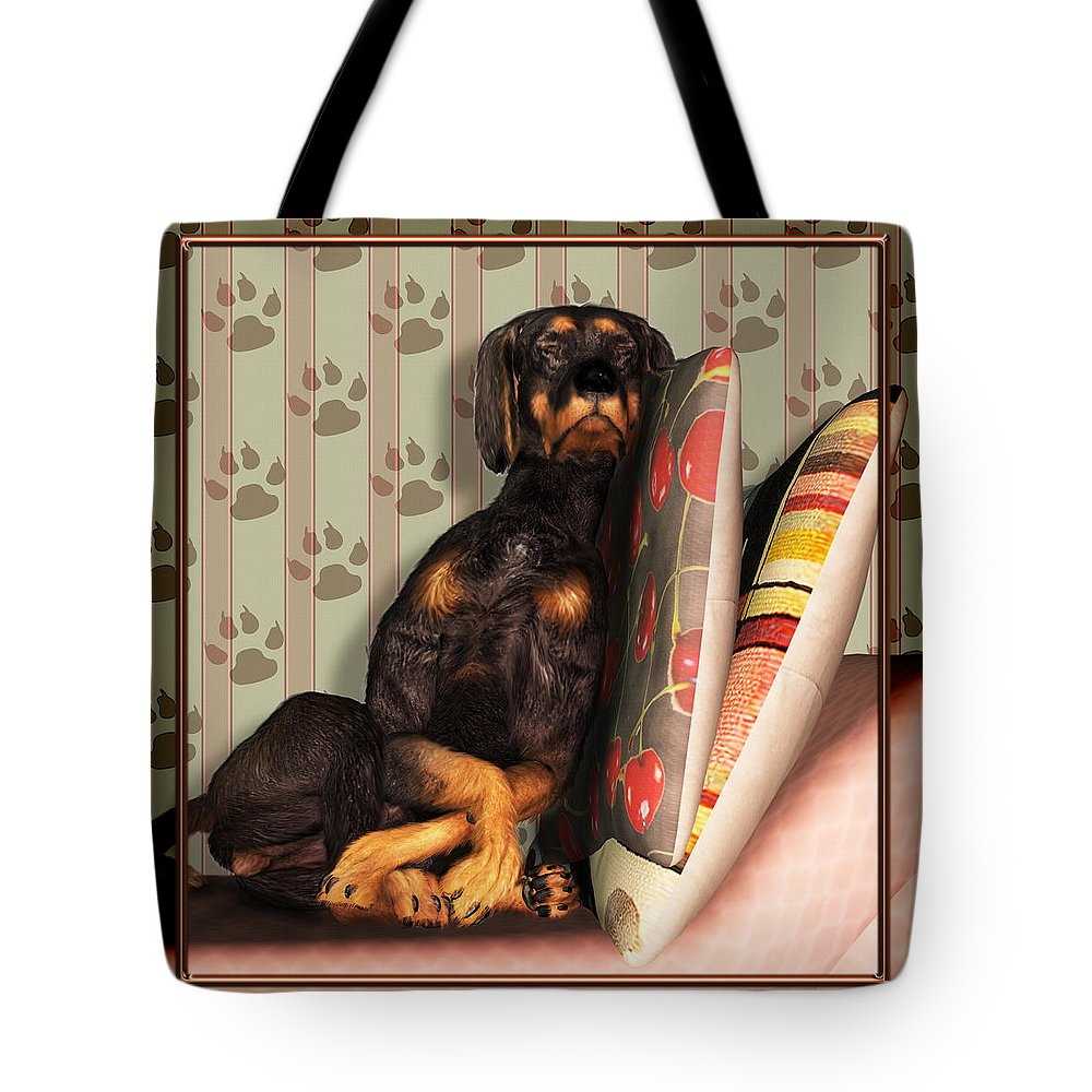 Dog Tote Bag featuring the digital art Sleeping I by Nik Helbig