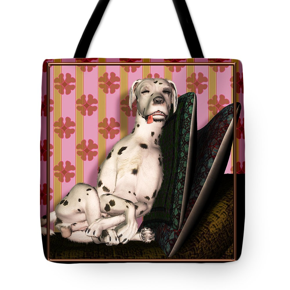 Dalmatian Tote Bag featuring the digital art Sleeping IIi by Nik Helbig