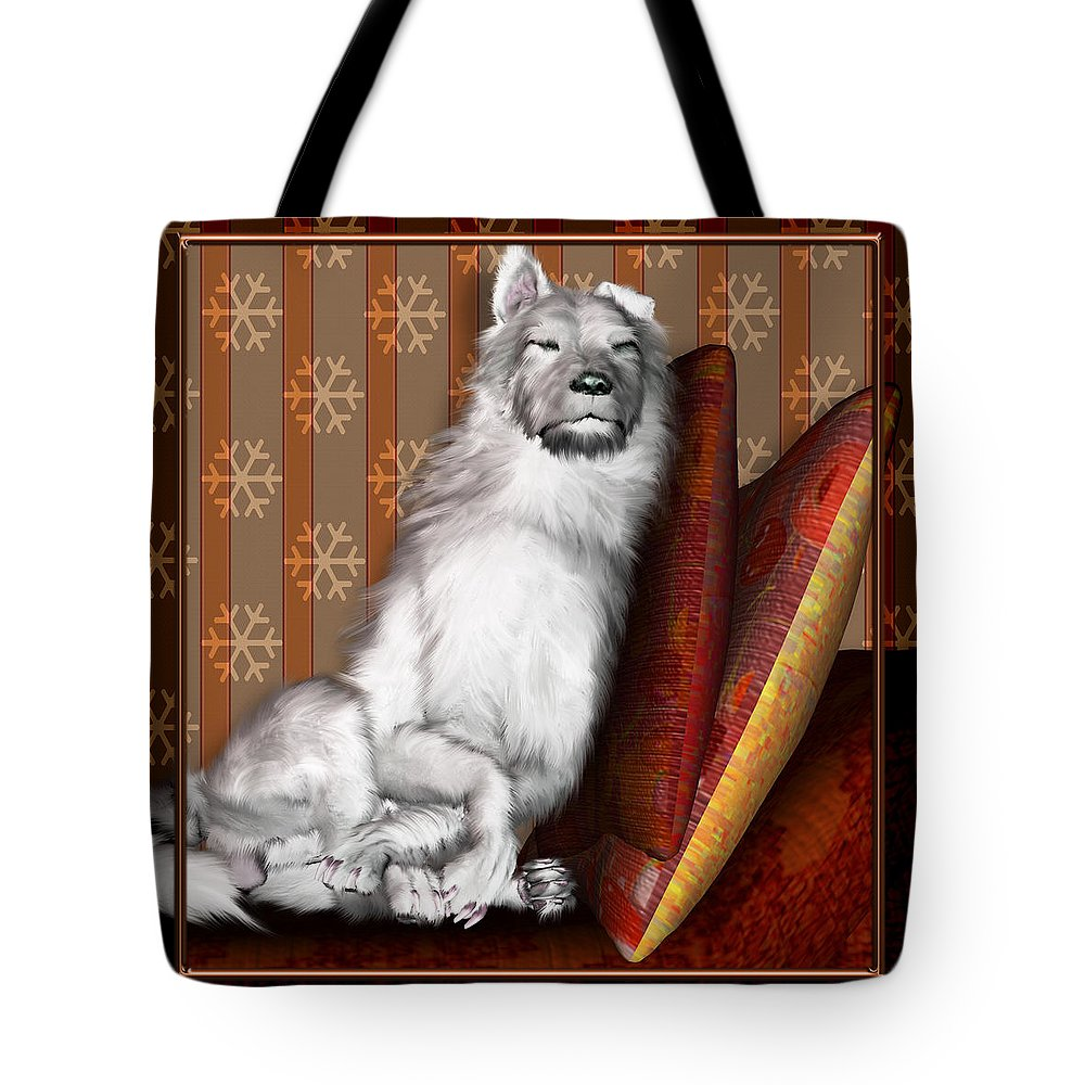 Dog Tote Bag featuring the digital art Sleeping Iv by Nik Helbig