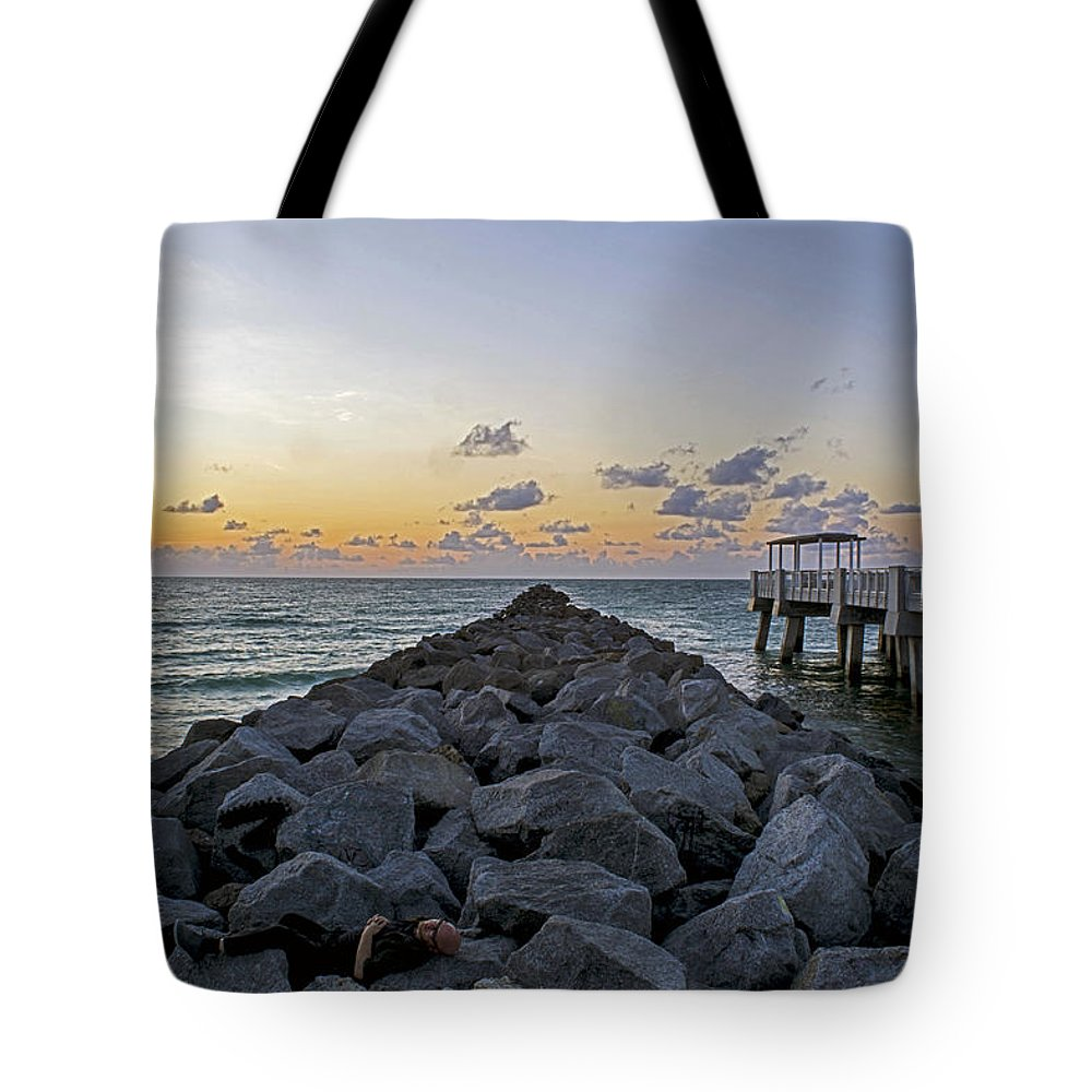 #southbeach #miamibeach #sunrise #miamiphotographer #stevelipsonphotography #streetart #ocean #clouds #goldcoast #zazzle #photo #togs #southflorida #lifestyle #advertisingagency #creative #seascape #landscape #outdoors #southpointe Tote Bag featuring the photograph Sleeping On South Beach by Steve Lipson