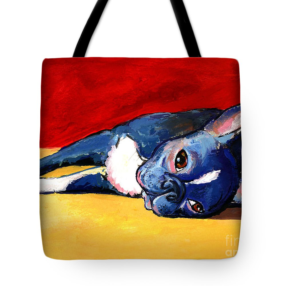 Boston Terrier Tote Bag featuring the painting Sleepy Boston Terrier Dog by Svetlana Novikova