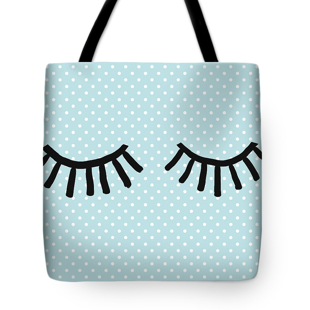 Eyes Tote Bag featuring the mixed media Sleepy Eyes And Polka Dots Blue- Art By Linda Woods by Linda Woods